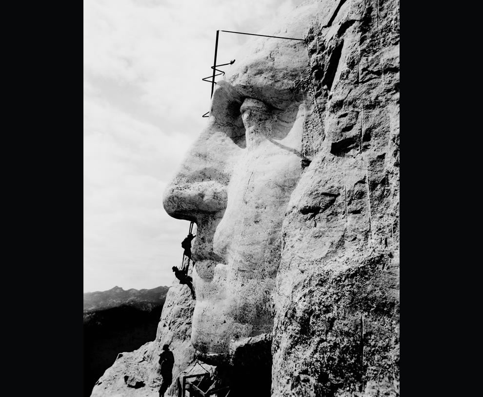 1932 picture of construction at Mount Rushmore of George Washington's likeness