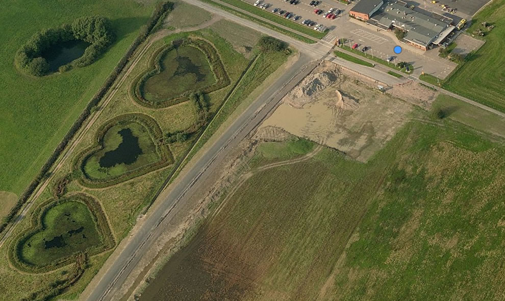 3 heart-shaped ponds near the Halmstad City Airport, Sweden