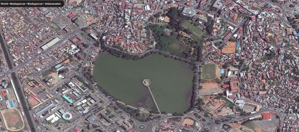 Anosy -- Part water, part park, heart shape in Antananarivo, Madagascar