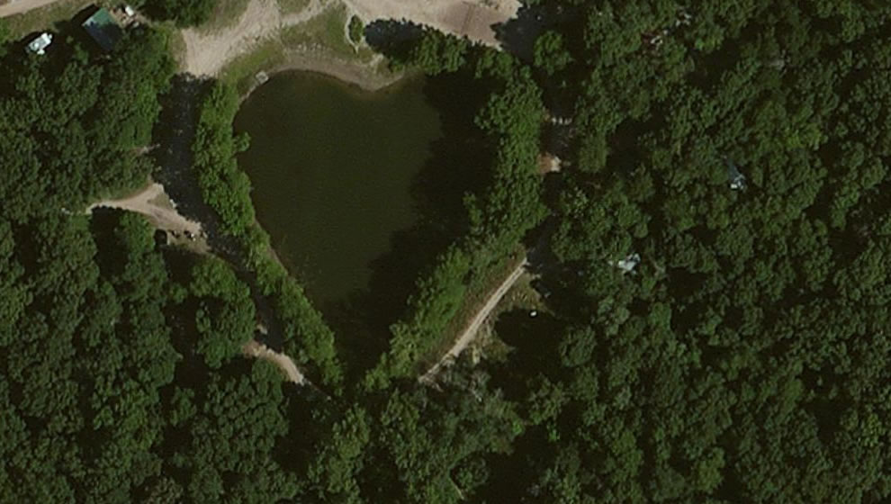 Heart-shaped Lake outside the Sun Aura nudist colony in Lake Village, Indiana