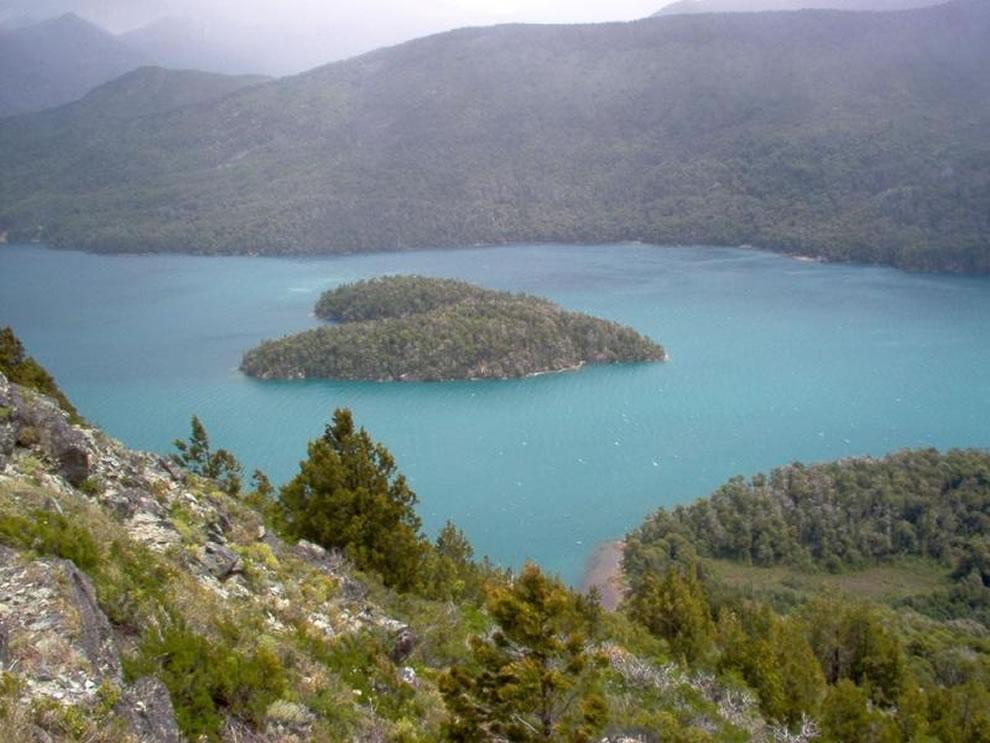 Heart-shaped island on Gutierrez Lake, Patagonia, Argentina
