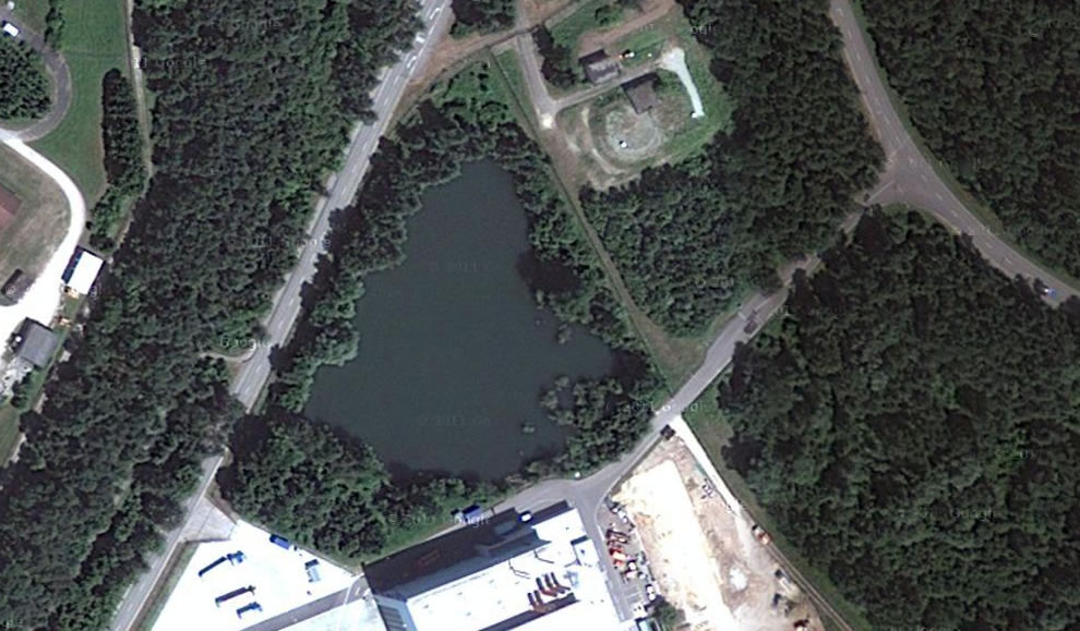 Heart-shaped lake next to Manching Airport Ingolstadt, Germany