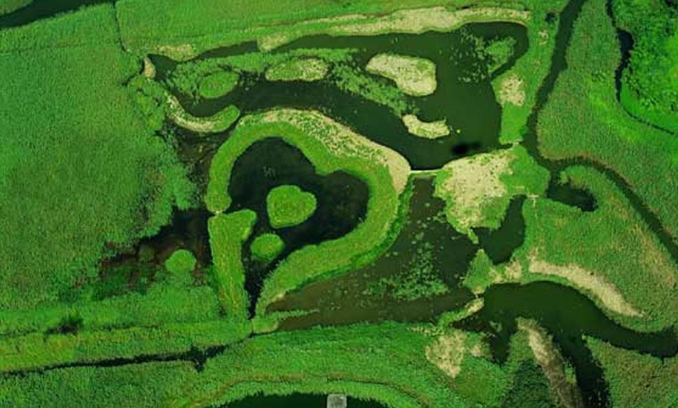 Heart-shaped wetlands in Guandu Nature Park, Taipei, Taiwan