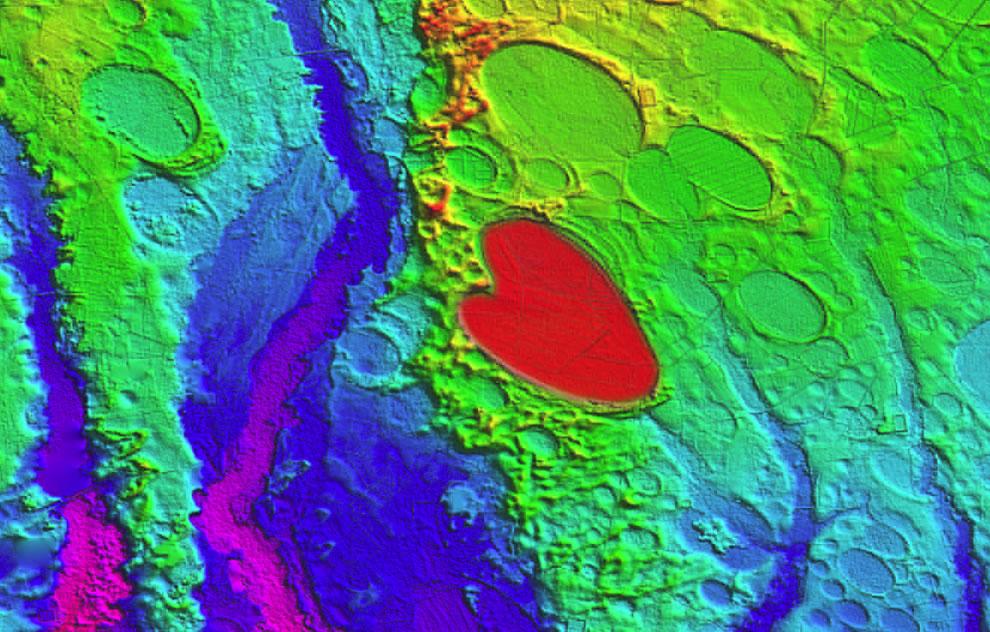 LiDAR imagery of Carolina's heart-shaped bay