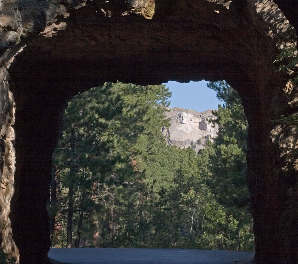 Mt Rushmore seen from one of the tunnels on highway 16A