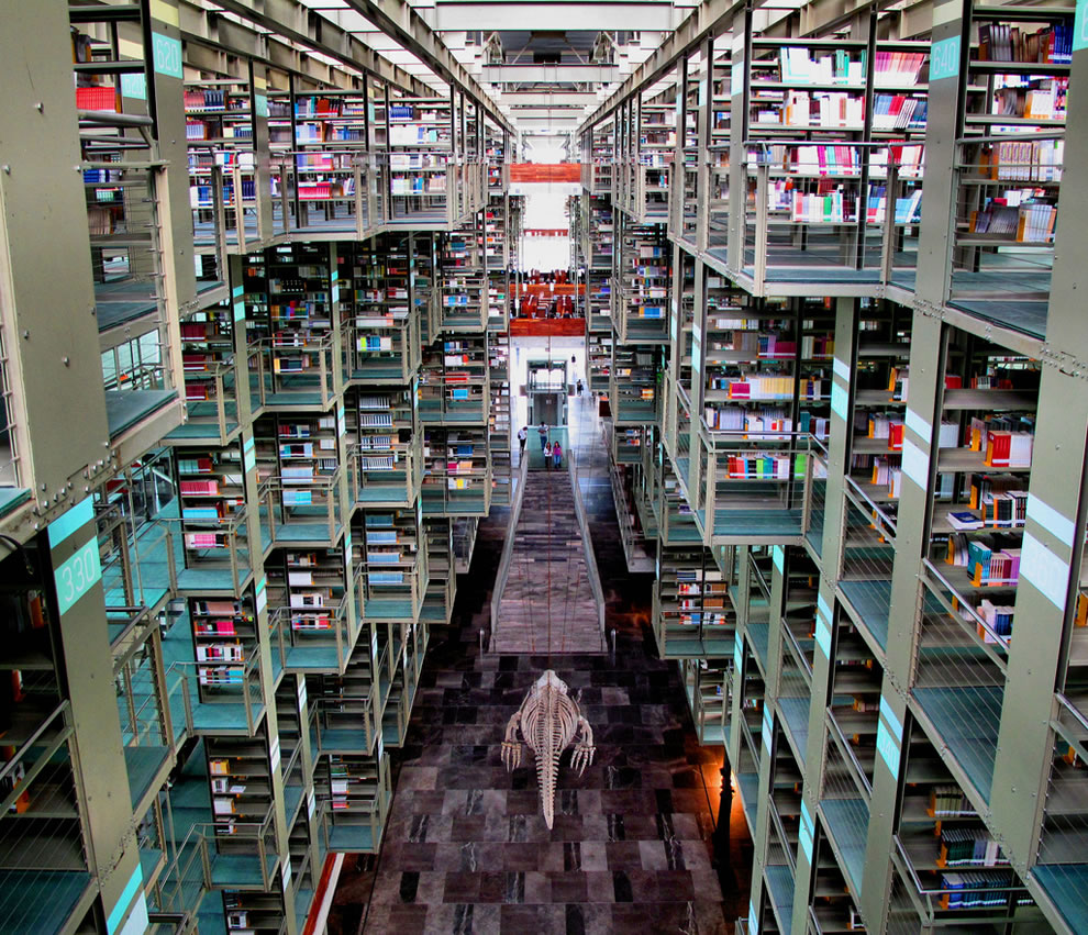 Vasconcelos Library in Mexico City has a capacity of up to 5000 people a day, and 1.825 million visitors a year, picture includes huge hanging whale bones