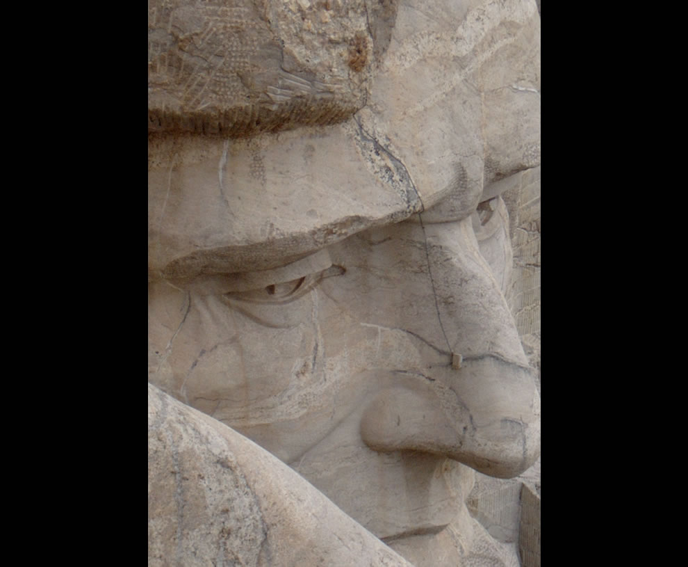 View of Abraham Lincoln from on top of Mt. Rushmore