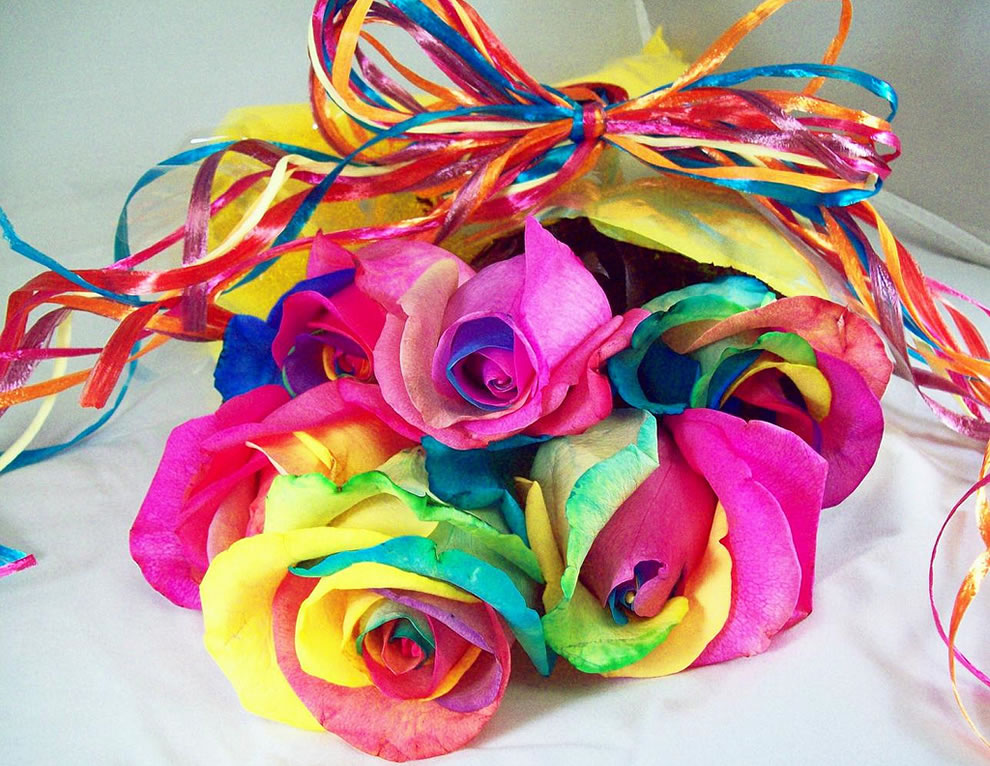 Tie-dyed Valentine's Day gift, rainbow roses