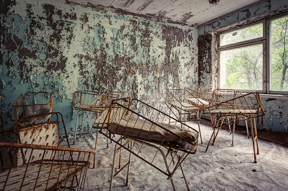 Abandoned baby ward in Chernobyl zone Pripyat hospital