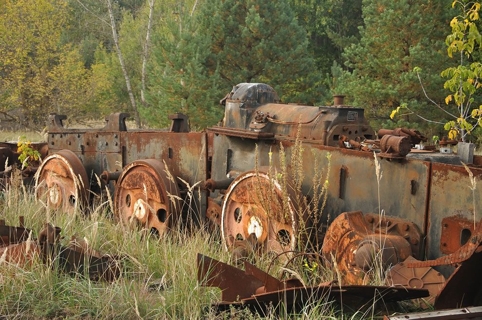 Abandoned train, Urbex Chernobyl Exclusion Zone in autumn 2012
