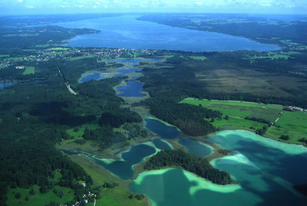 Aerial view of the Easter lakes, looking north towards Lake Starnberg at algal bloom