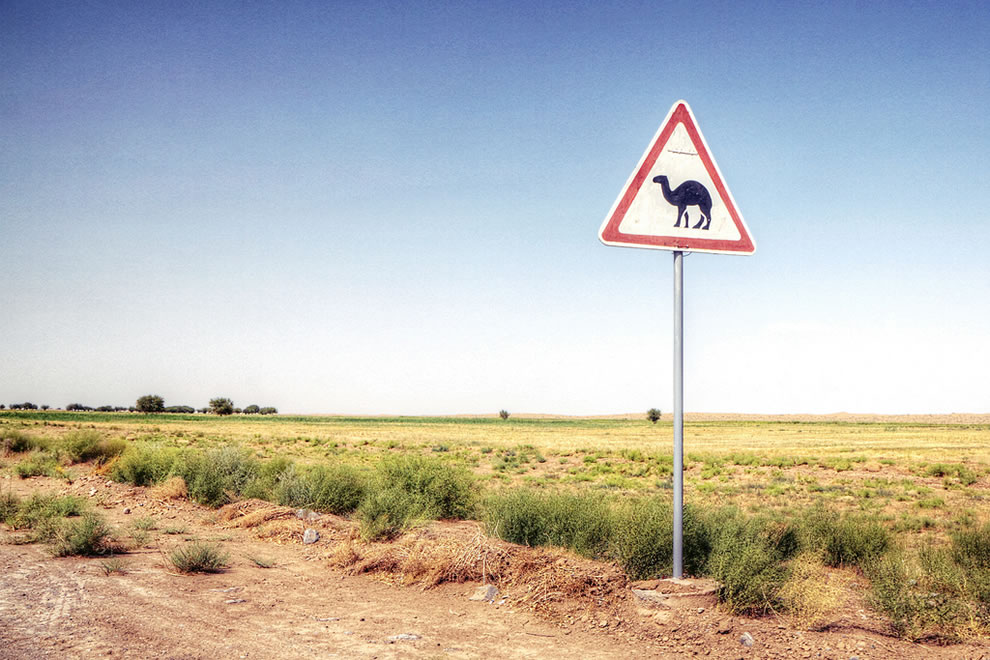 Camel crossing sign in the desert of Turkmenistan