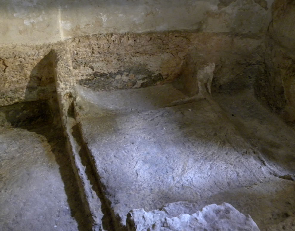 Inside the Garden tomb, temporary resting place of Jesus