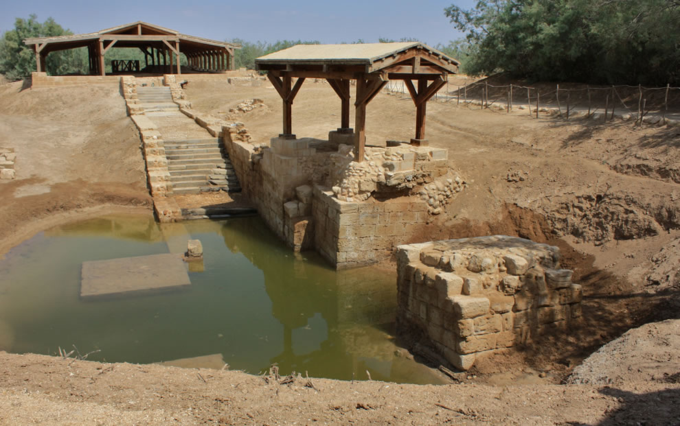 Jesus' baptism site, River Jordan, where John the Baptist is believed to have baptized Jesus