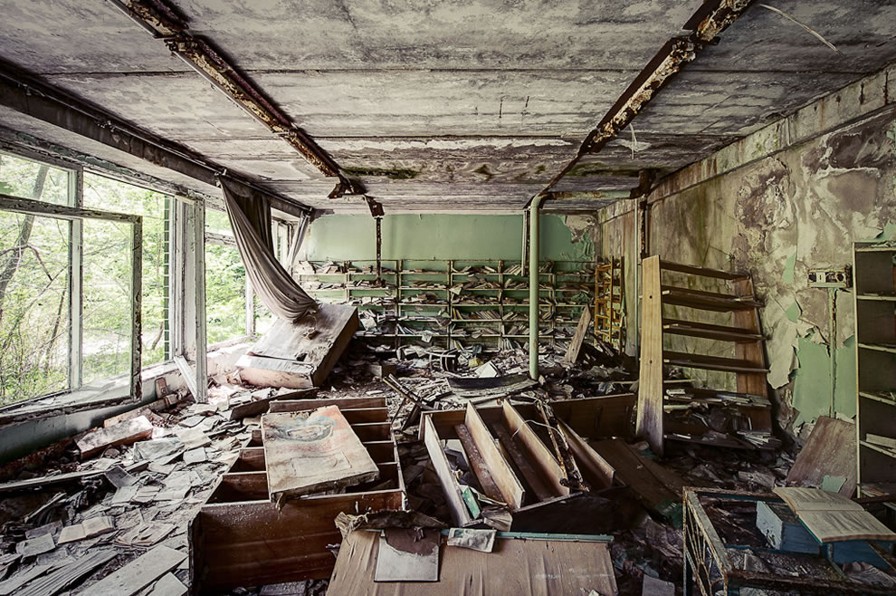 May 2012 School library, Chernobyl Exclusion Zone