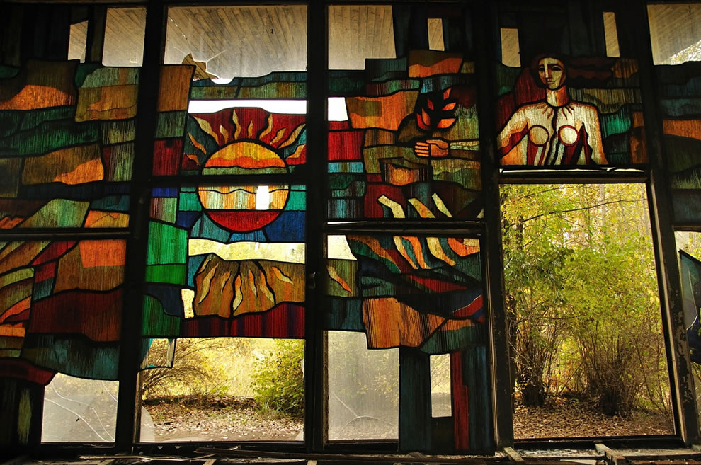 October 2012, busted stained glass window at Chernobyl Exclusion Zone