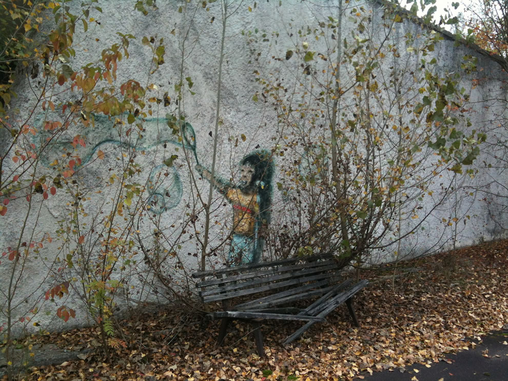 Pripyat public art, little girl making bubbles, as seen on October 12, 2012