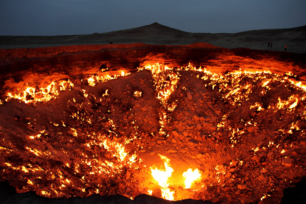 The Door to Hell in the nighttime at Turkmenistan, Darvaza