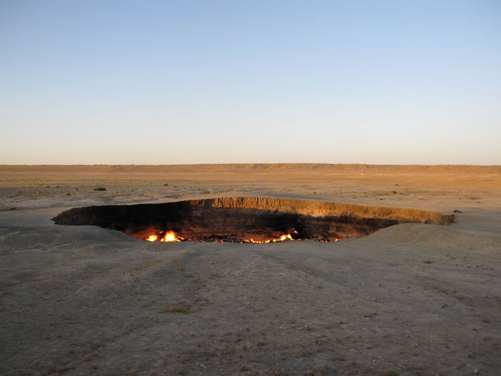 The ground collapsed with an explosion and the Darvaza Gas Crater was born, burning to this day