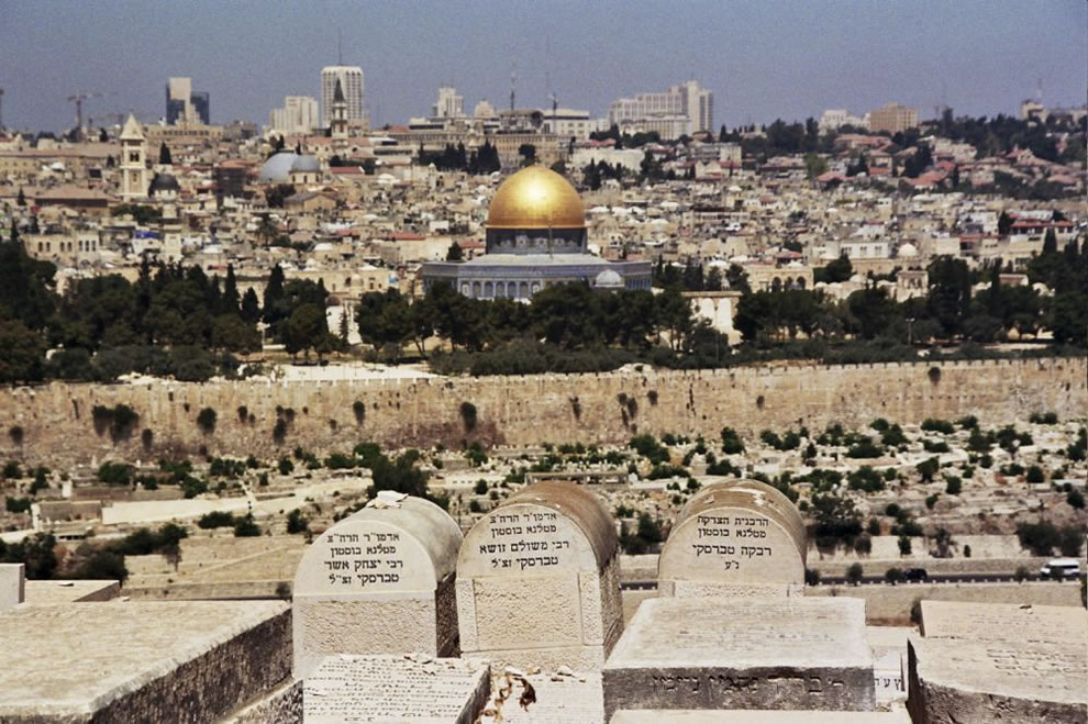 View of the Mount of Olives, the Temple Mount, and the Jewish Cemetary in the foreground