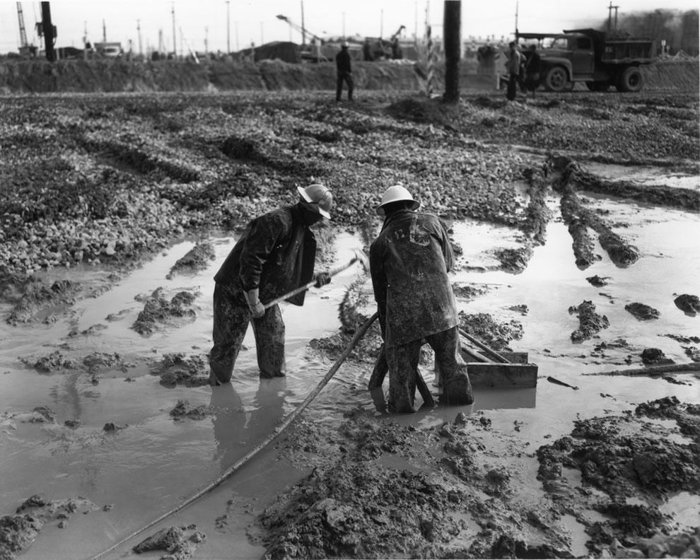 1944 muddy road building at Oak Ridge Tennessee