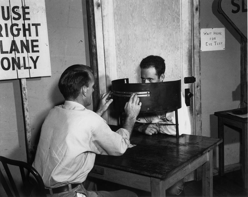 1945 Drivers permit bureau eye test