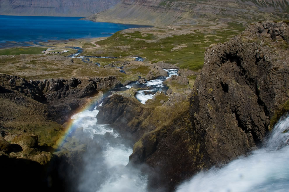 330 ft, 100m, waterfall Dynjandi  means 'thunderous' in Icelandic