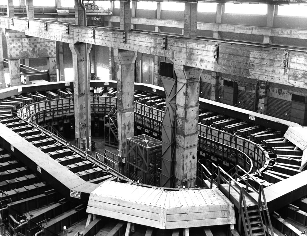 Alpha Track Calutron at the Y-12 Plant at Oak Ridge, Tennessee from the Manhattan Project, used for uranium enrichment by electromagnetic separation process -- Circa 1944-1945