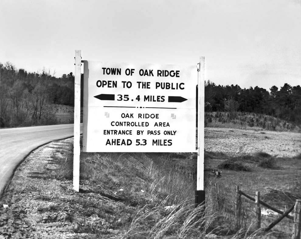 April 1949 City Limits with Restriction Sign of Town Oak Ridge