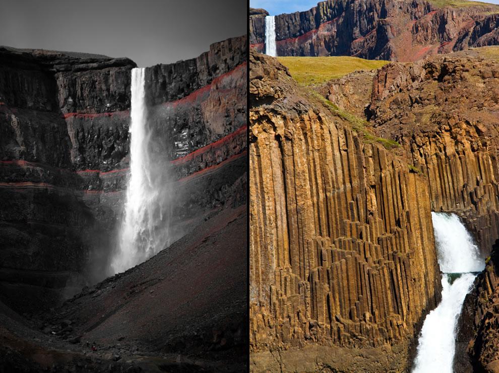 Below Hengifoss is another waterfall called Litlanesfoss