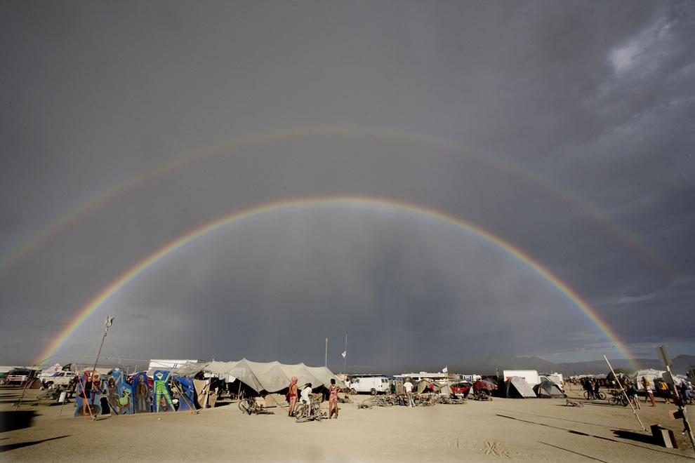 Double rainbow over Burning Man