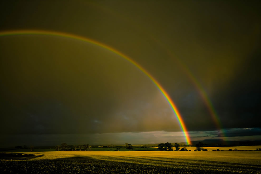 Double rainbow over the Merse, Scotland