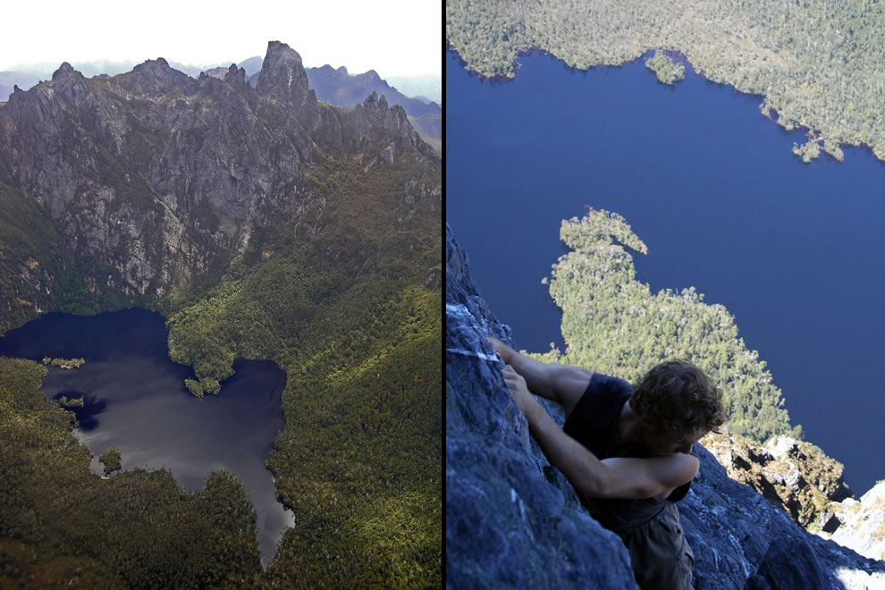 Flying over and climbing Federation Peak, Tasmanian Wilderness World Heritage Area