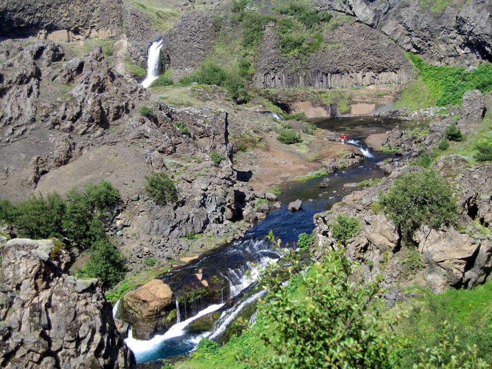 Gjáin waterfall in July