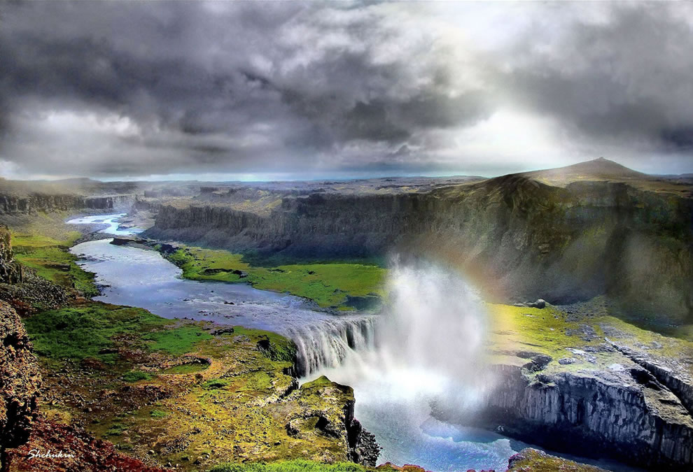 Hafragilsfoss waterfall in Jokulsargljufur National Park, northern Iceland