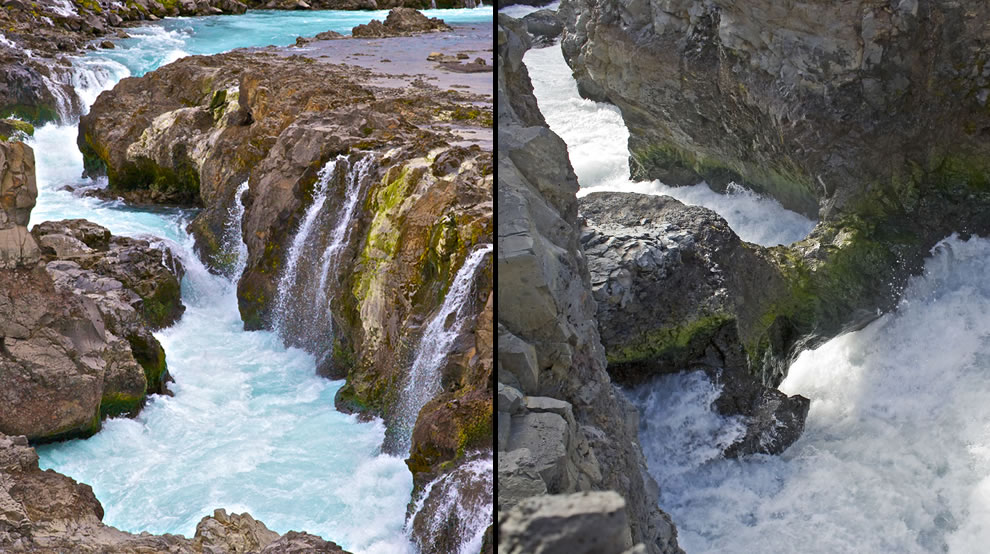 Literally a stone's throw upstream from Hraunfossar, is another waterfall called Barnafoss that is the subject of many Icelandic folk tales