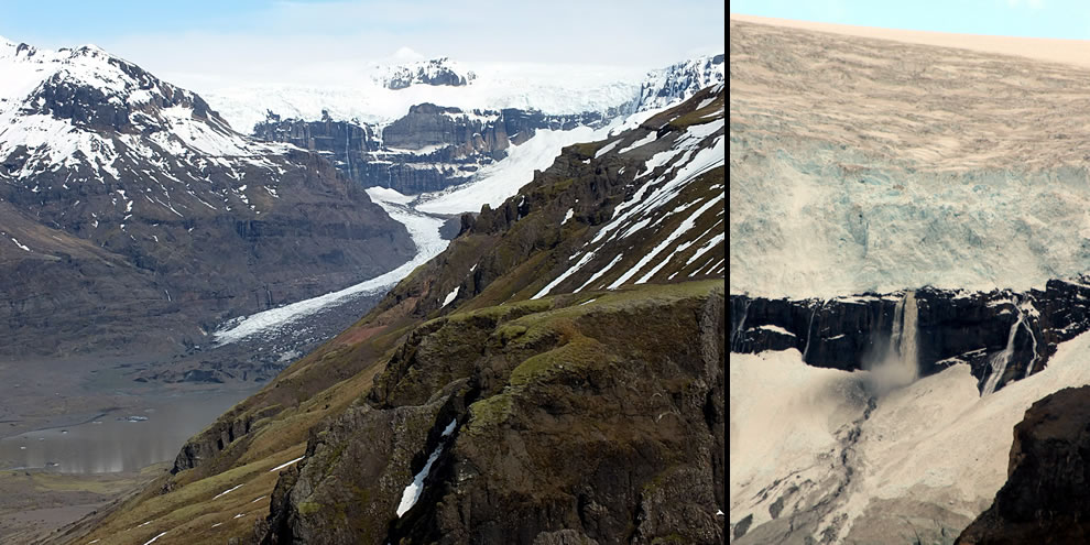 Morsárfoss, 227m waterfall formed from the retreat of Morsárjökull that is now Iceland's tallest
