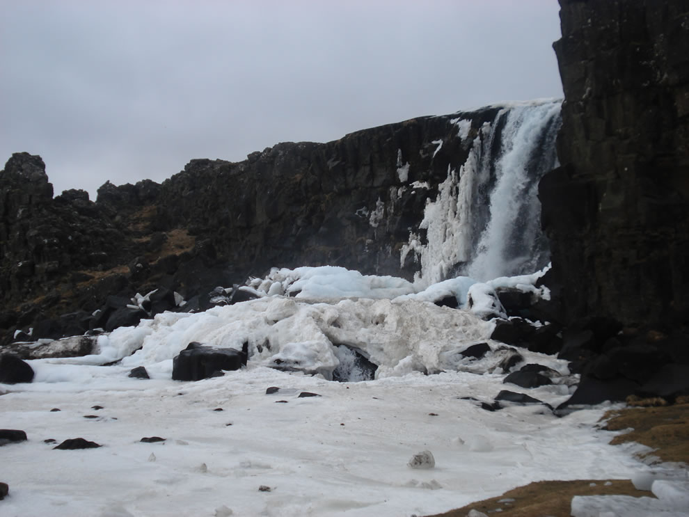 Oxarafoss In Winter