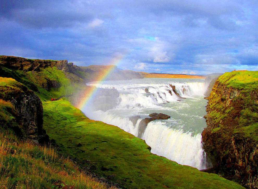 Rainbow over Gullfoss waterfall in Iceland, called Golden Falls in English