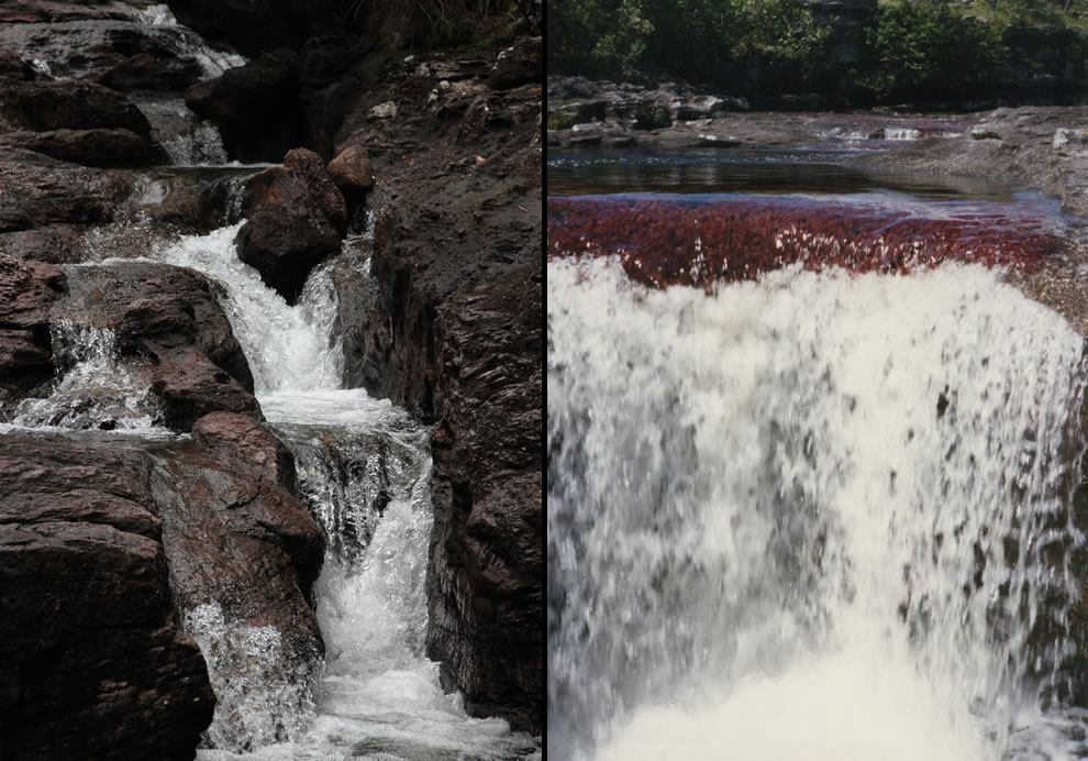 Rocks and cascading waterfalls at Caño Cristales