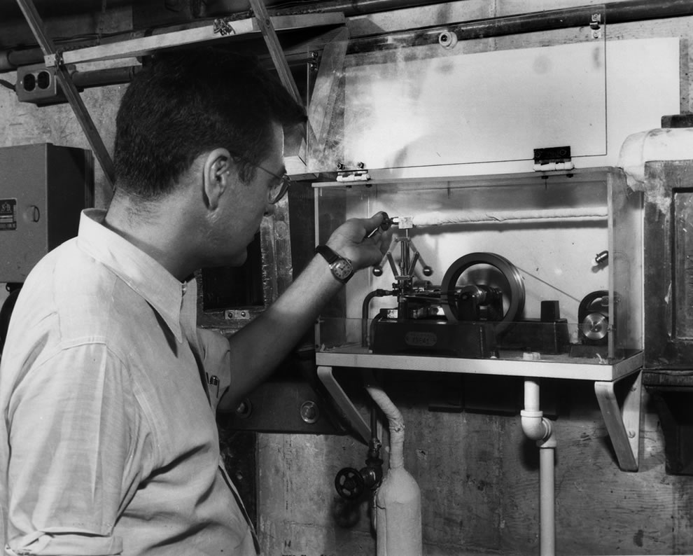 Sept. 3, 1948 Logan Emlett with first Atomic Power Plant at X-10 Graphite Reactor at Oak Ridge Tennessee