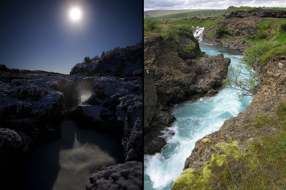 There was a natural bridge over the Barnafoss waterfall, but after 2 children from a nearby farm fell to their deaths, the grief-struck mother had the bridge destroyed