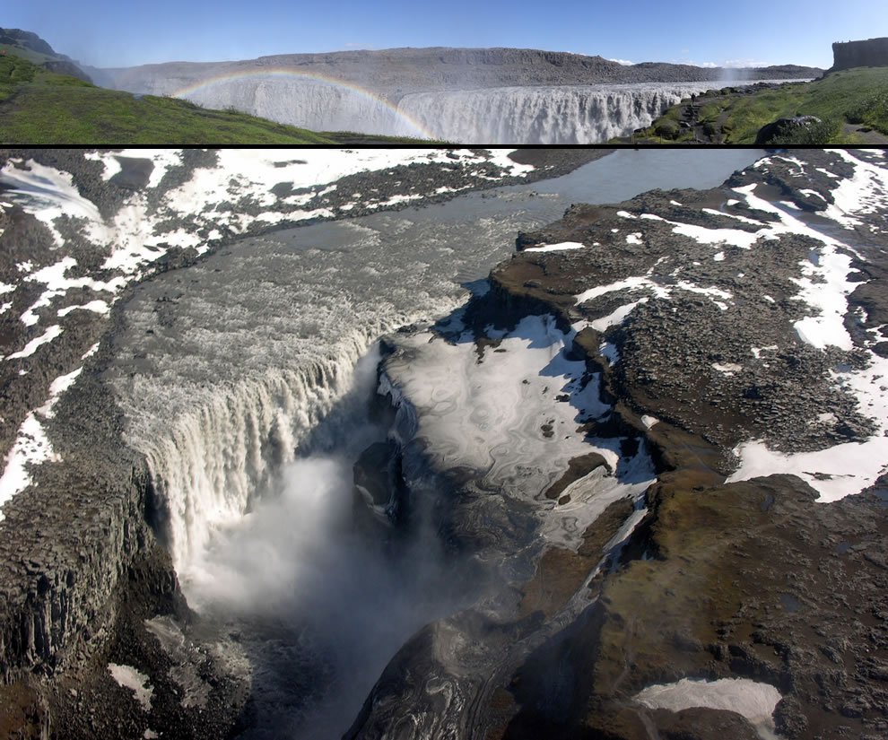 Top panorama of Dettifoss, bottom is aerial view of the waterfall taken in May