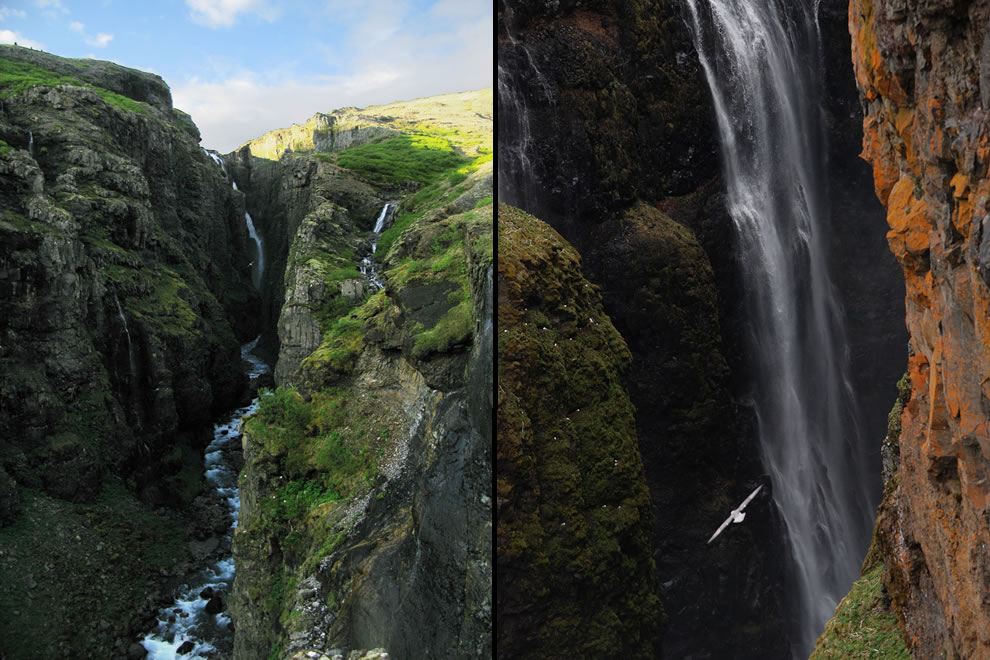 West Iceland has Glymur, a 640 ft waterfall