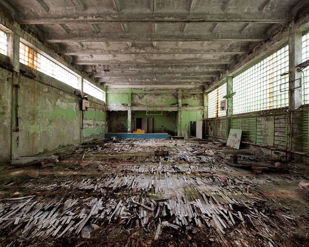 Abandoned gym at decaying Pripyat school in Chernobyl exclusion zone