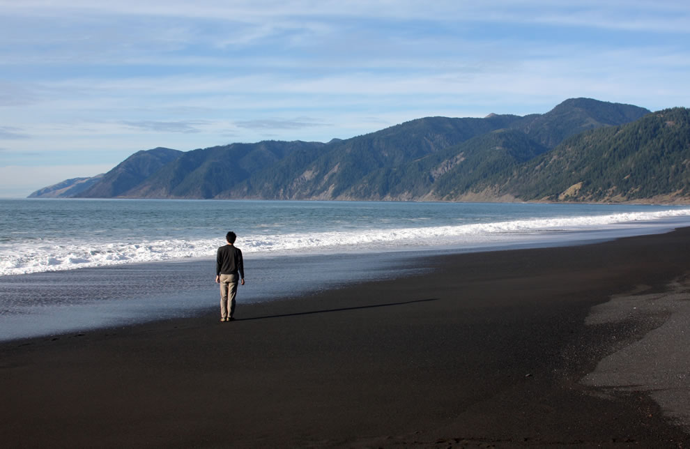 Black sand beach at Shelter Cove, California