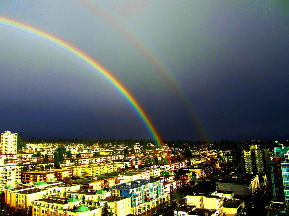 Brilliant double rainbow after a sudden rainstorm