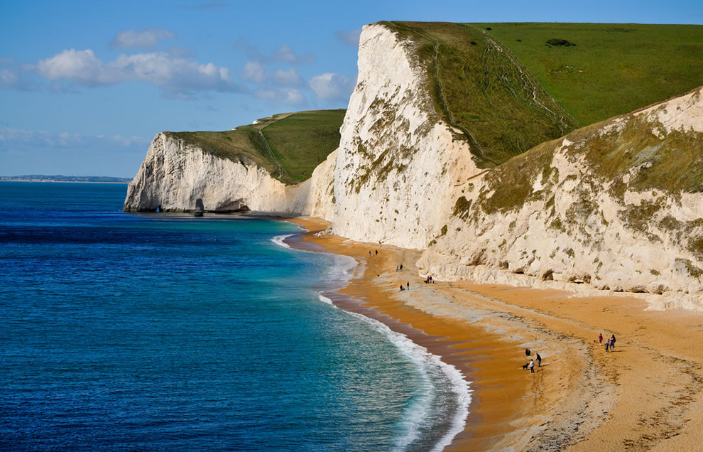 Cliffs and beach, looking westwards towards Bat's Head, near Durdle Door, Dorset