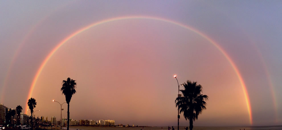 Double Rainbow over the bay of Pocitos in Montevideo, Uruguay