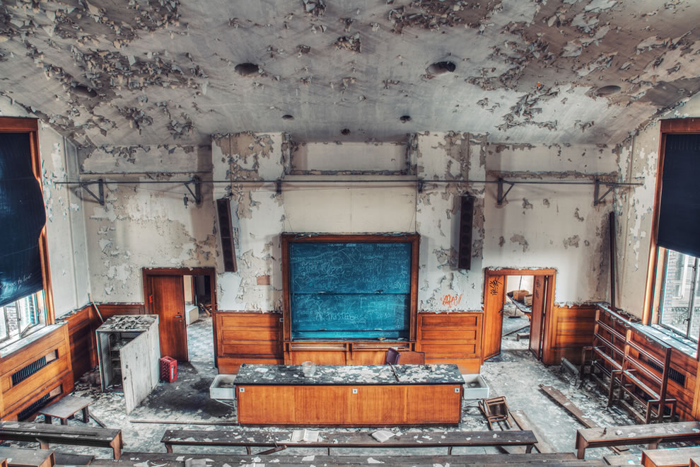 Lecture room at abandoned university